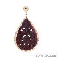 18k Gold, Diamond Pendant, Ruby studded
