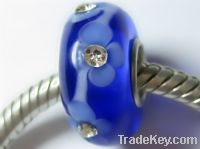 Sell sterling silver core glass beads with crystal