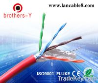 Sell red stp indoor cat5e lan cable(factory price, OEM)