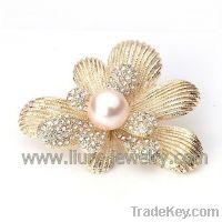 Sell Flower Crystal Cloth Brooch