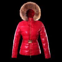 Mon-cler Down Fur Cap And Waistband Fashion Red Women Coats