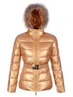 Mon-cler Down Gold Fur Cap And Waistband Slim Warm Women Coats