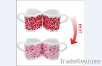 Sell 10oz FDA approved Heart mug with color changing