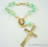 green beads rosary bracelets with metal cross