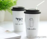 Sell Double layer ceramic coffee cups with lid