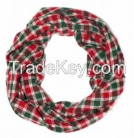 100% Cashmere Scarf - Black-Red squares