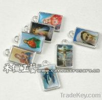 Sell rosary medal, saints charm with square-shape