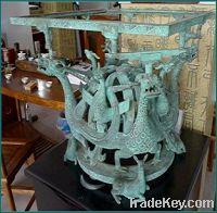 Sell bronze antique imitation Dragon and Phoenix Square Platform