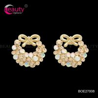 Charming Stylish Shinning Flower Crystal Earrings For Lady