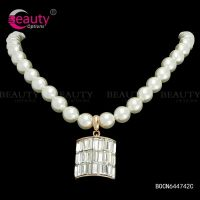 Statement pearl necklace jewelry with crystal pendant for women Item ID #BOCN644742C