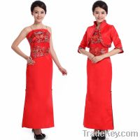 Sell Strapless cheongsam dress with embroidery pattern