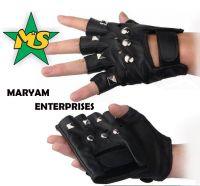 Half-finger leather gloves half finger glove black Leather gloves
