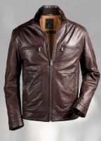 ladies blue leather jacket
