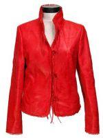 Fresh design korean style womens rabbit fur leather jacket