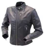women's coat with leather sleeves