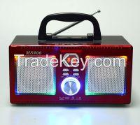 Portable Wooden Box Digital Radio/USB/TF Card/LED light Speaker