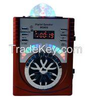 Portable Wooden Box Digital Radio with USB/Micro SD/Remote Control/LED disco light