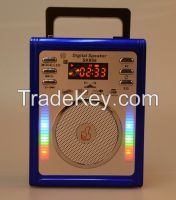 Portable Radio with LED Disco Light, support USB and Micro SD card MP3 Music Play