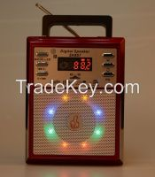 Portable Radio Speaker with LED disco light, read and play music from USB and Micro SD card