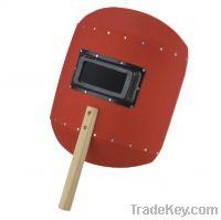 red steel paper welding helmet