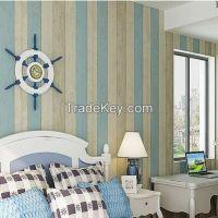Wholesale vintage blue stripe non-wovenwallpaper papel de parede