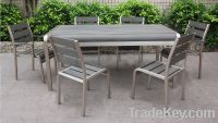 Sell Aluminum Long Dining Table Set-Outdoor poly wood furniture