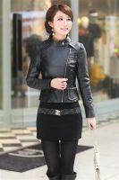 Sell Women Long Sleeves Zipper  Leather Jackets