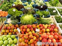 Selling fresh vegetables and fruits