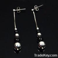 Sell wholesale 925 sterling silver beaded black onyx earrings
