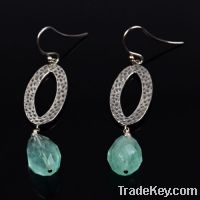 Sell wholesale 925 sterling silver hammered earrings with fluorite