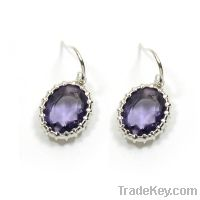 Sell wholesale 925 sterling silver amethyst earrings