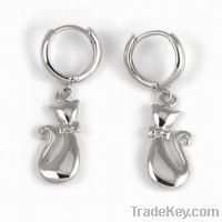 Sell wholesale 925 sterling silver cat earrings