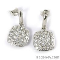 Sell wholesale 925 sterling silver pave earrings