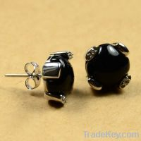 Sell wholesale 925 sterling silver onyx earring studs