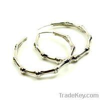 Sell wholesale 925 sterling silver bamboo hoop earrings