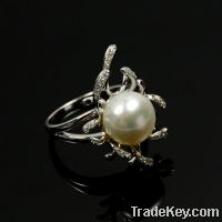 Sell wholesale 925 sterling silver pearl rings fashion design