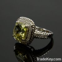 Sell wholesale 925 sterling silver yellow citrine rings