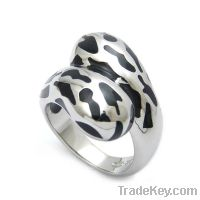 wholesale 925 sterling silver enamel leopard rings