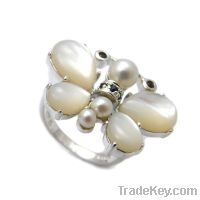 wholesale 925 sterling silver butterfly pearl rings