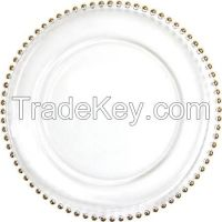 """Gold Beaded Edge Clear Glass Charger Plates 13"""""""