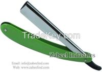 Professional Barber Shaving Razor Silver & Green / Replaceable Blade Straight Razor By Zabeel Industries