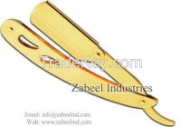 Professional Barber Straight Cut Throat Full Gold Shaving Razors / Replaceable Blade Straight Razor By Zabeel Industries