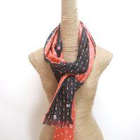 double faced printed silk habotai long scarf