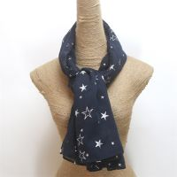 polyester voile cotton like scarf with foil printing