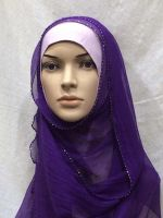 crinkle silk georgette chiffon hijab with beads trimmed