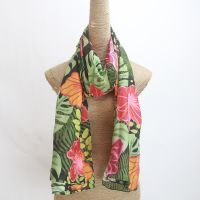 digital printing girls flower print silk cotton scarf