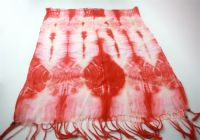 tie dyed viscose scarf with wood bead trimmed