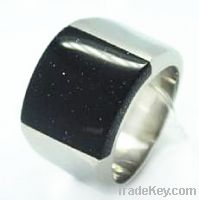 Sell Fashion Jewelry Black Stone Stainless Steel Finger Rings (RZ8119)