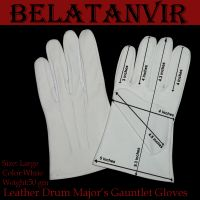 Leather Drum Major s Gauntlet Gloves color white size S, M, L , XL