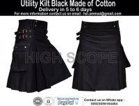 Utility Kilt Black Color made of 16 oz cotton Fabric